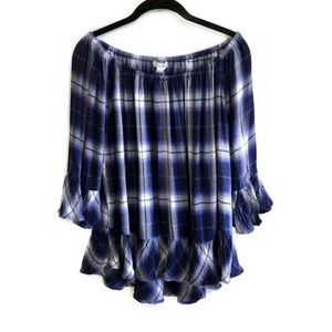 BeachLunchLounge blue plaid off the shoulder top